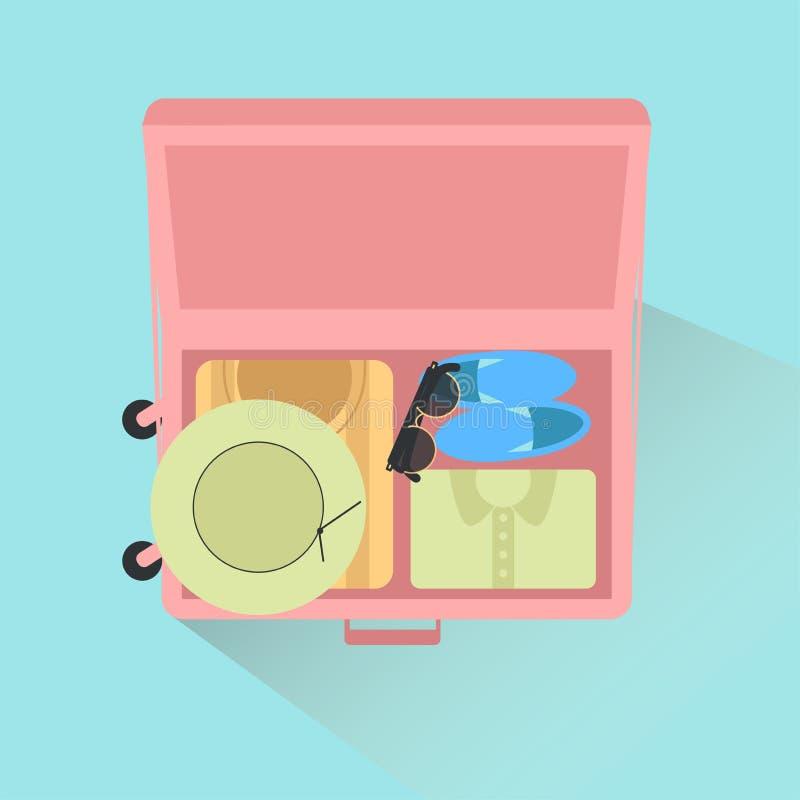 Abra o saco do ` s do viajante com roupa e acess?rios ilustração do vetor