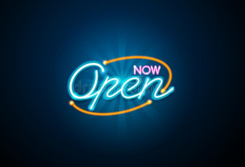 Abra o sinal de néon ilustração royalty free