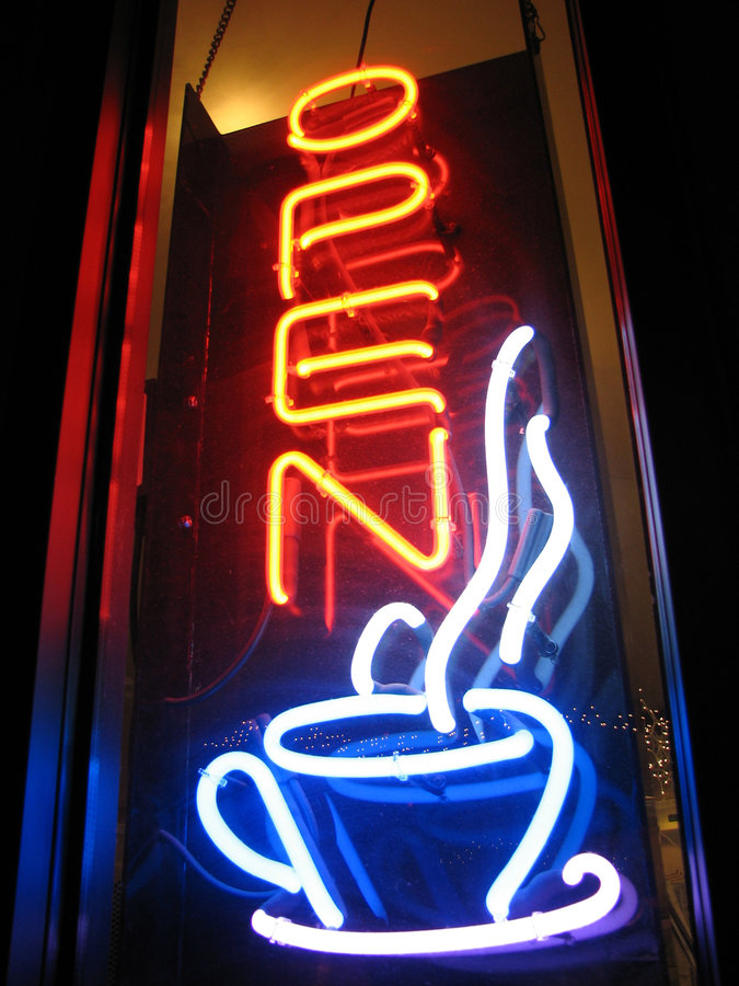 Abra o sinal de néon do café foto de stock