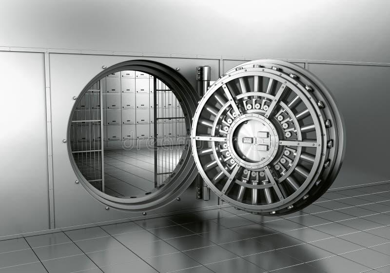 Abra o vault de banco ilustração royalty free