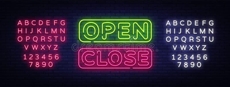 Abra o vetor de néon próximo do texto Quadro indicador de néon próximo aberto, molde do projeto, projeto moderno da tendência, qu ilustração royalty free