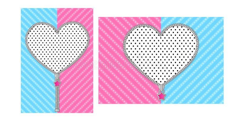 Abra o zíper do coração com o fechamento bonito no fundo cor-de-rosa azul brilhante ilustração royalty free