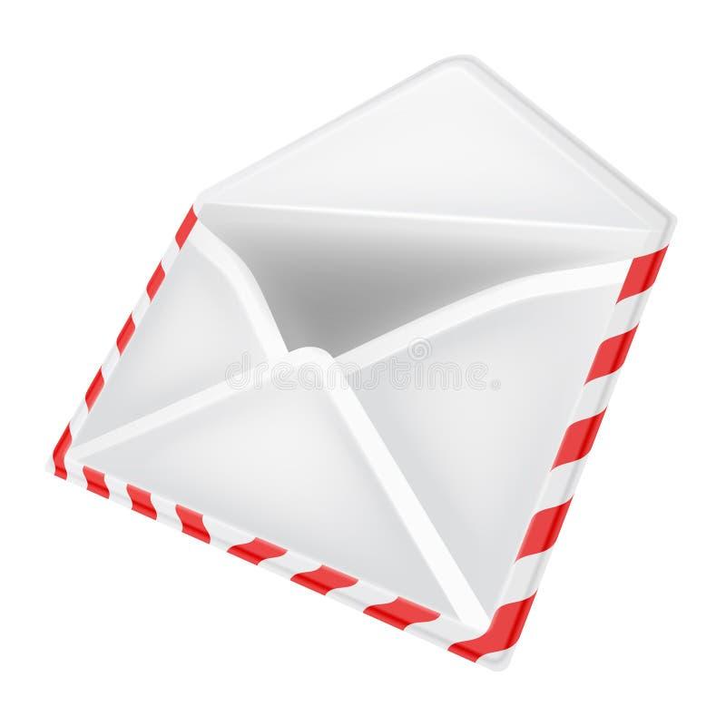 Abra a opinião de perspectiva do objeto do envelope isolada ilustração royalty free