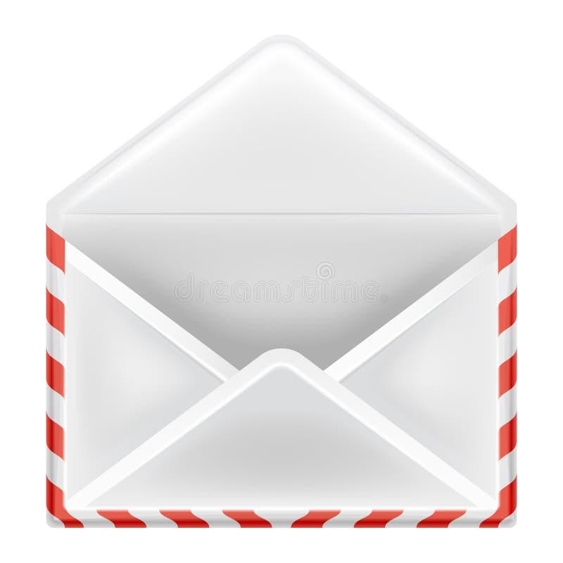 Abra a opinião dianteira do objeto do envelope isolada ilustração royalty free