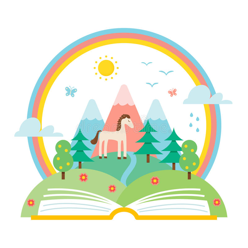 Abra a paisagem do livro e da natureza dos montes e do arco-íris Ilustração do estudo da ciência e de natureza ilustração royalty free