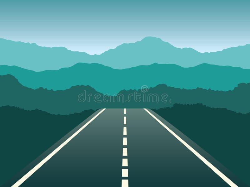 Abra a paisagem larga da estrada do ângulo com ilustração do vetor dos montes ilustração stock