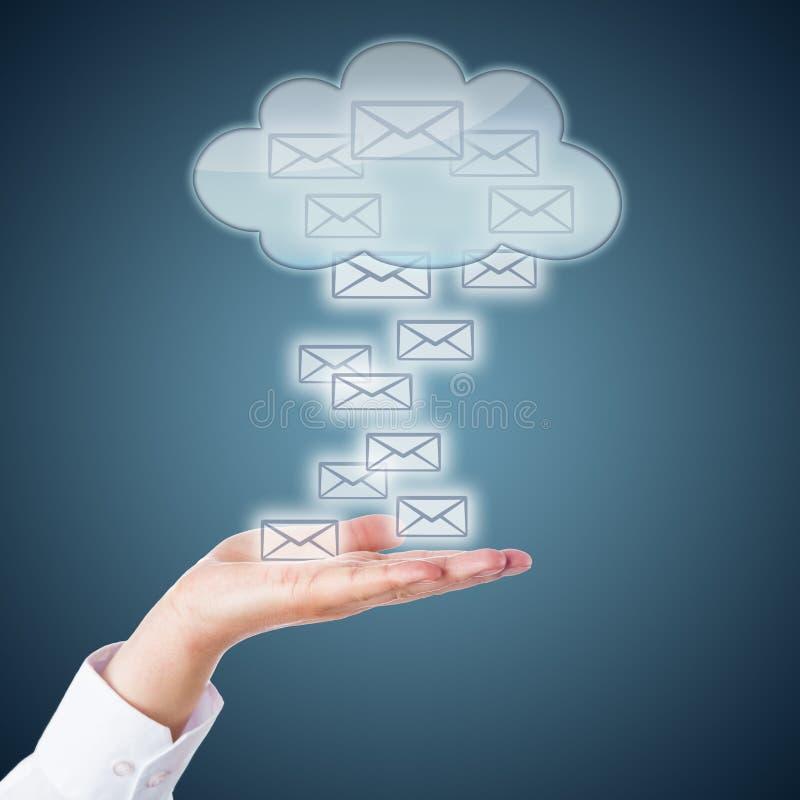 Abra a palma que recebe ícones do email da nuvem fotografia de stock royalty free