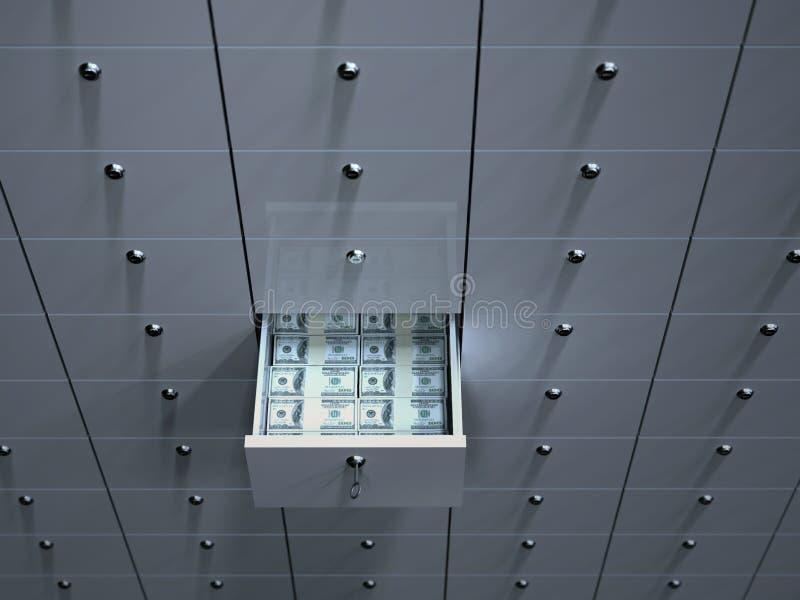 Abra a pilha com dinheiro na caixa de depósito da segurança ilustração royalty free