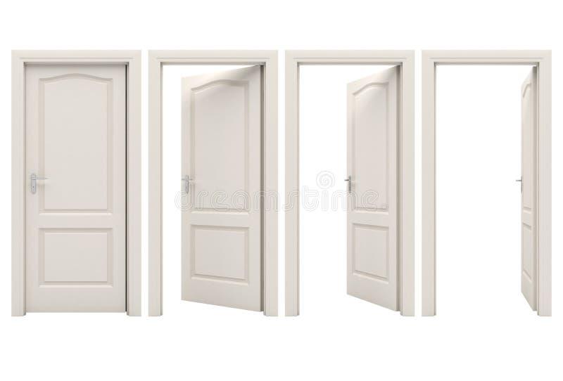 Abra a porta branca ilustração do vetor