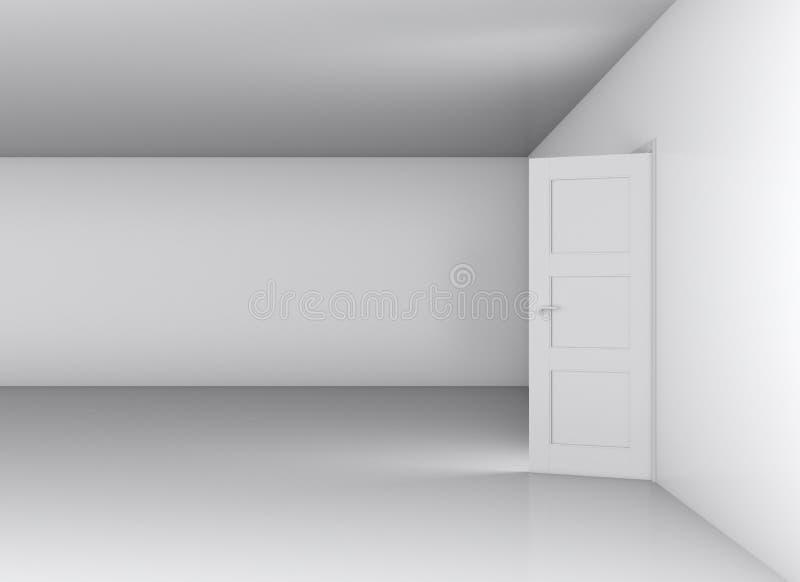 Abra a porta branca e a parede vazia fotos de stock