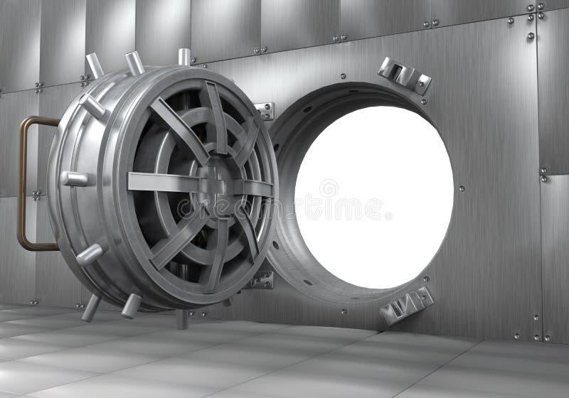 Abra a porta do cofre-forte de banco