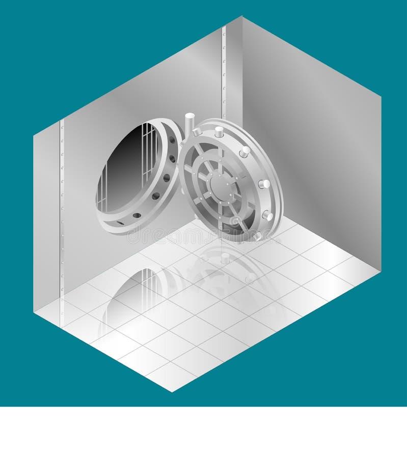 Abra a porta do Vault de banco Ilustração isométrica do vetor ilustração royalty free