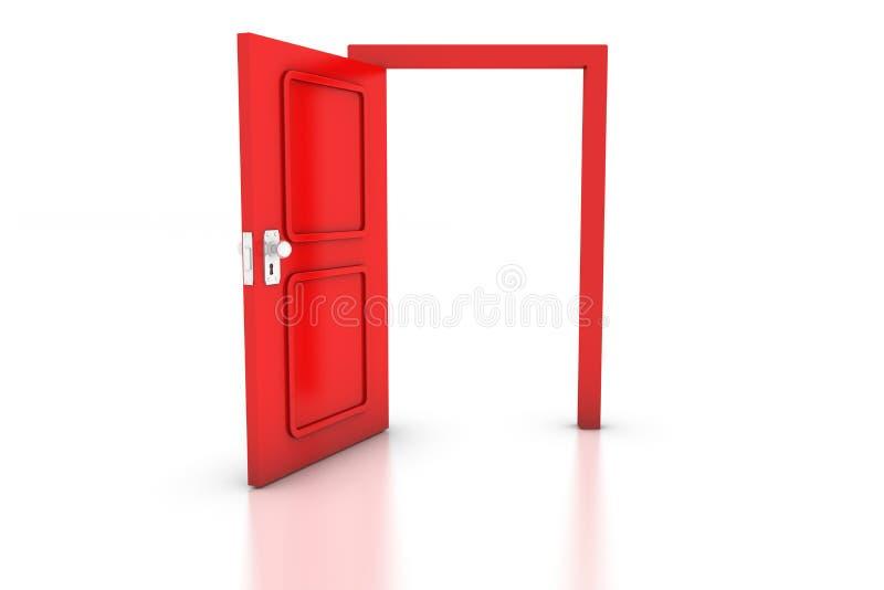 Abra a porta vermelha ilustração stock