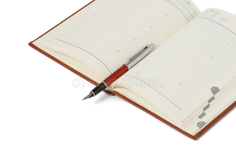 Abra registros diários. Pena. fotos de stock