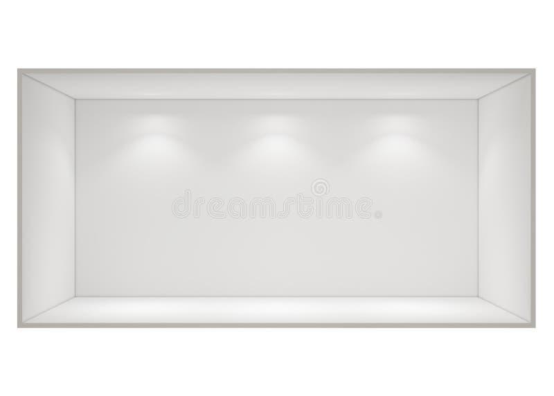 Abra a sala de caixa vazia com as luzes do ponto isoladas no fundo branco ilustração stock