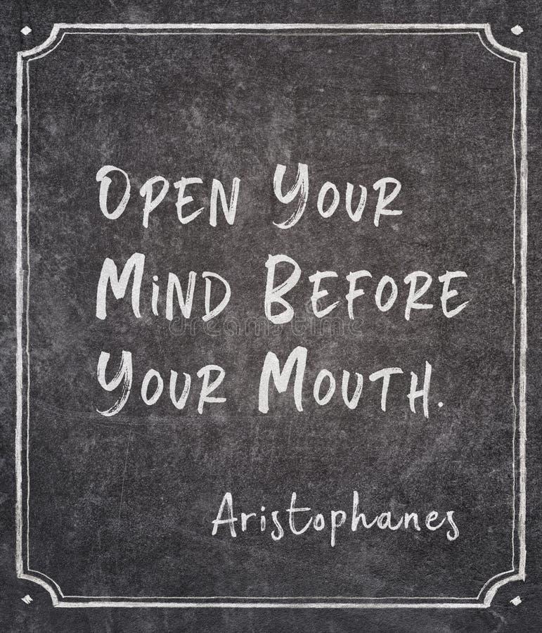 Abra su mente Aristófanes foto de archivo libre de regalías