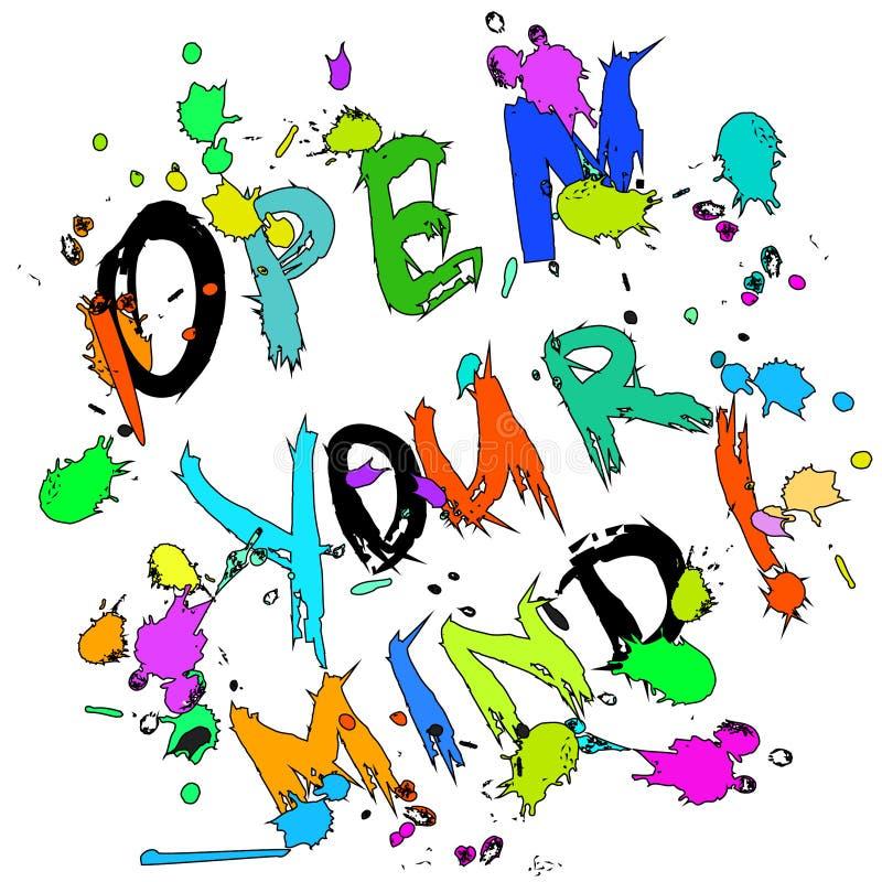 Abra su tarjeta de felicitación de la mente colorida stock de ilustración