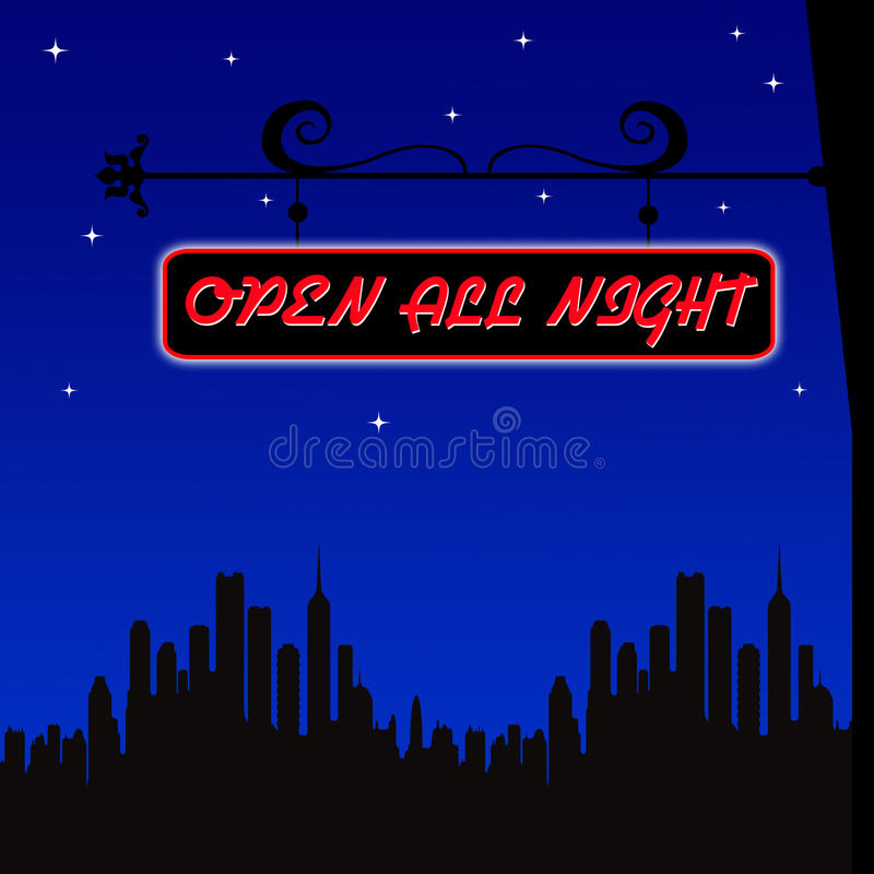 Abra toda la noche libre illustration