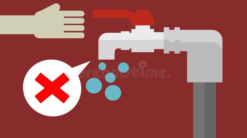 Abra a torneira com escassez de água imagem de stock