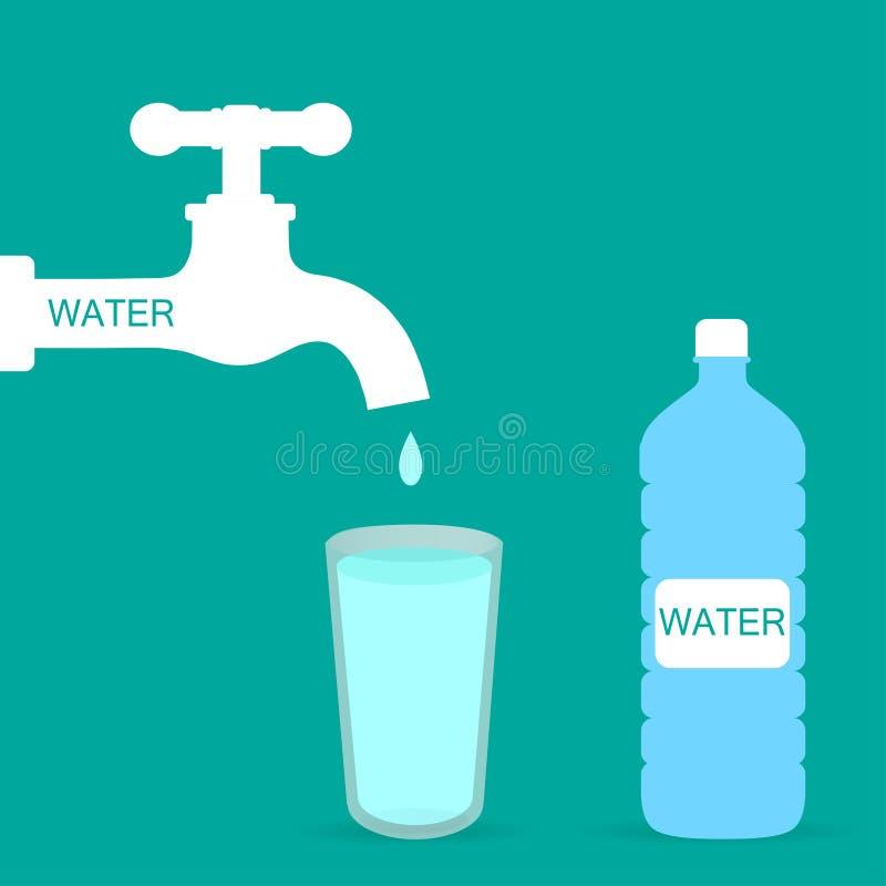 Abra uma torneira de água com vidro Vidro da agua potável Projeto liso da ilustração do vetor no fundo ilustração royalty free