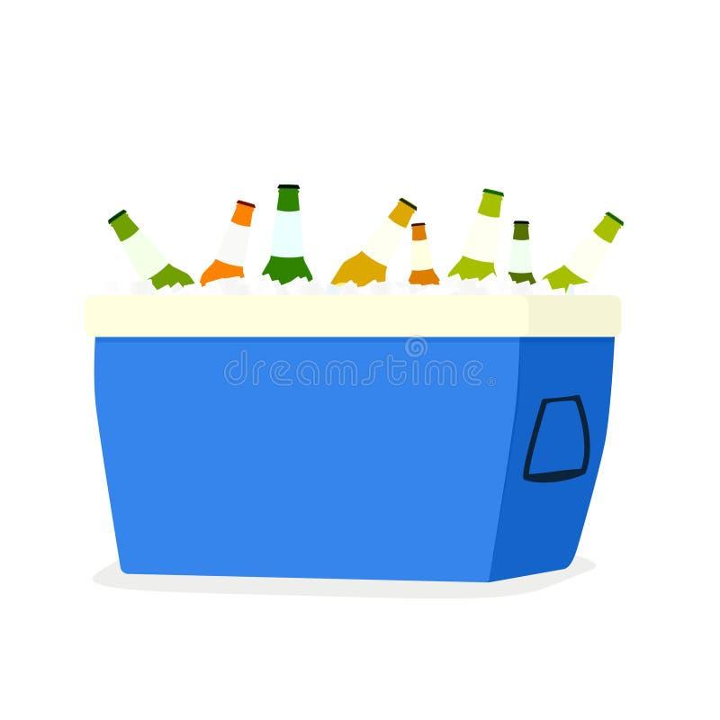 Abra una caja más fresca con las botellas de cerveza ilustración del vector