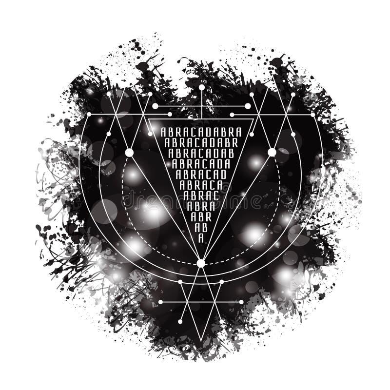 Abracadabra magico di simbolo di alchemia di vettore logo geometrico per spiritualità, occultismo, arte del tatuaggio e la stampa illustrazione vettoriale