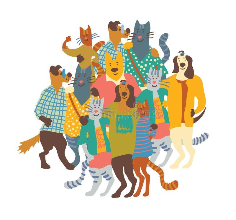 Abrace el blanco feliz del aislante del grupo de los perros y de los gatos de animales domésticos stock de ilustración