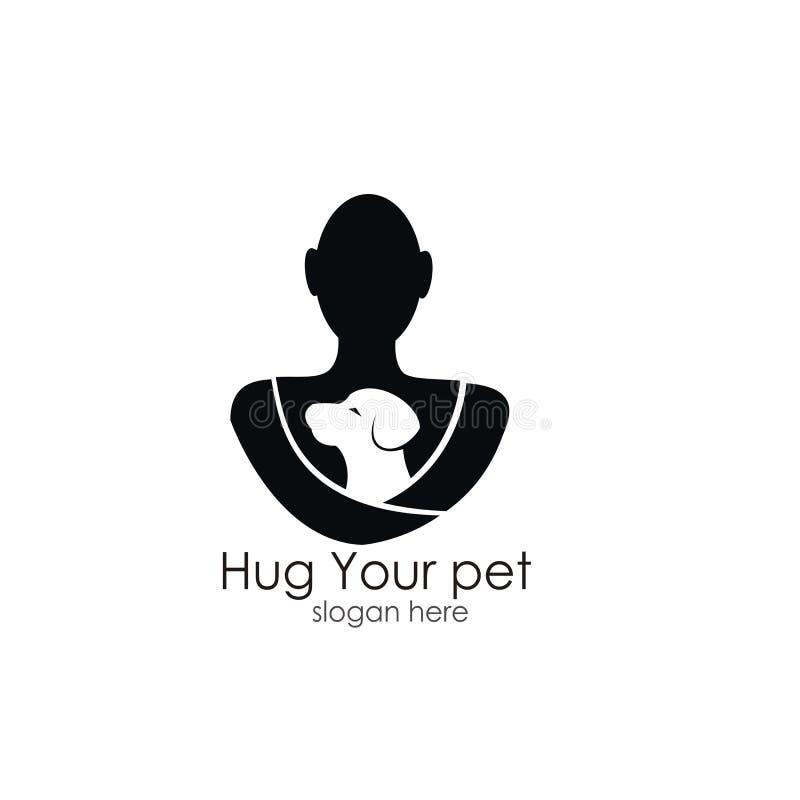 Abrace su diseño del logotipo del animal doméstico ilustración del vector