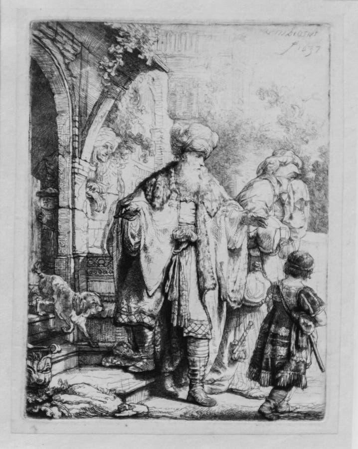 Abraham Casting ut Hagar och Ishmael, Rembrandt Van Rijn arkivfoton
