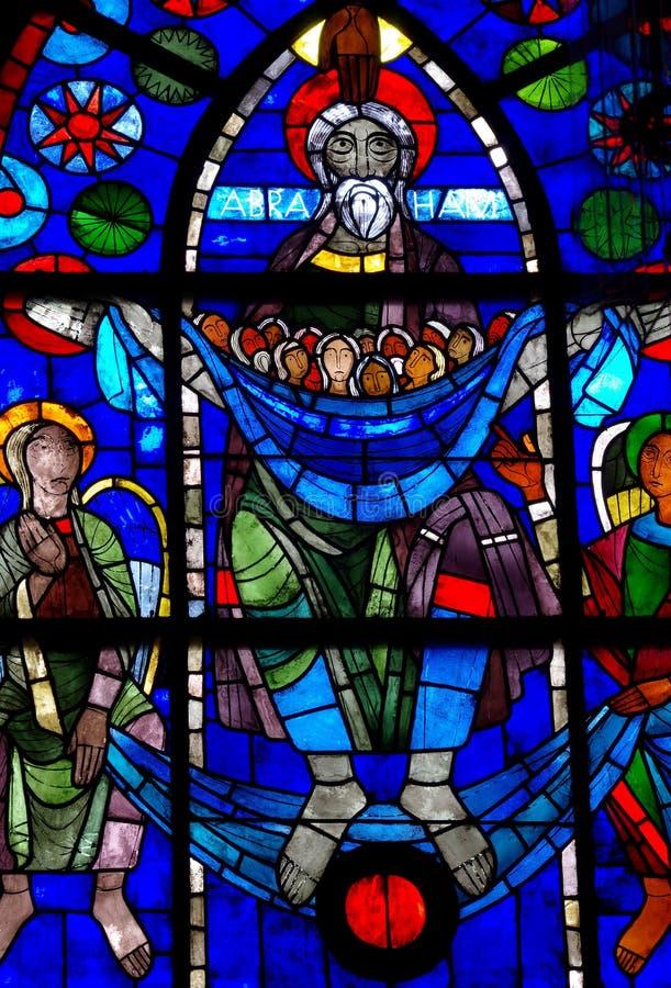 Abraham die de zielen in gebrandschilderd glas wegen royalty-vrije stock foto's