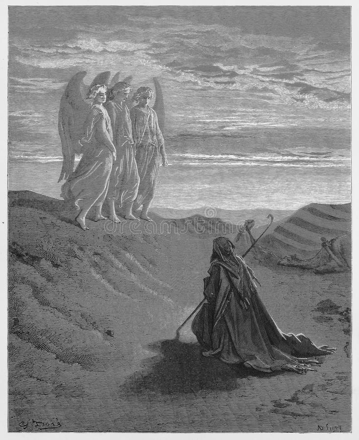 Abraham en de Drie Engelen stock illustratie