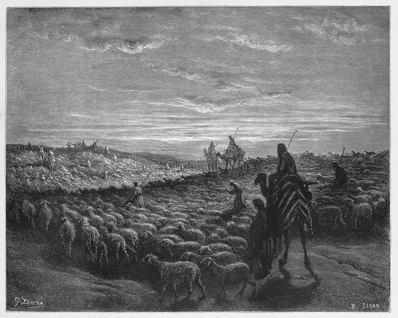 Abraham Journeying into the Land of Canaan. Picture from The Holy Scriptures, Old and New Testaments books collection published in 1885, Stuttgart-Germany