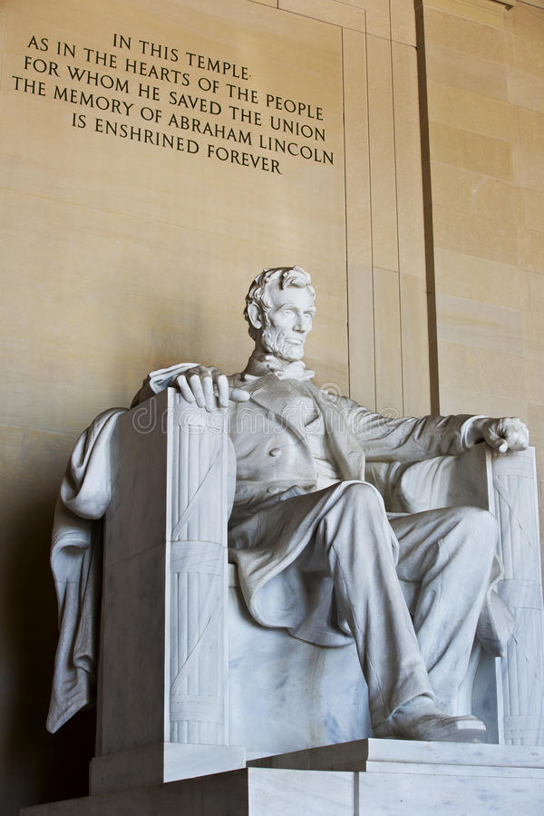 Abraham Lincoln雕象 库存图片