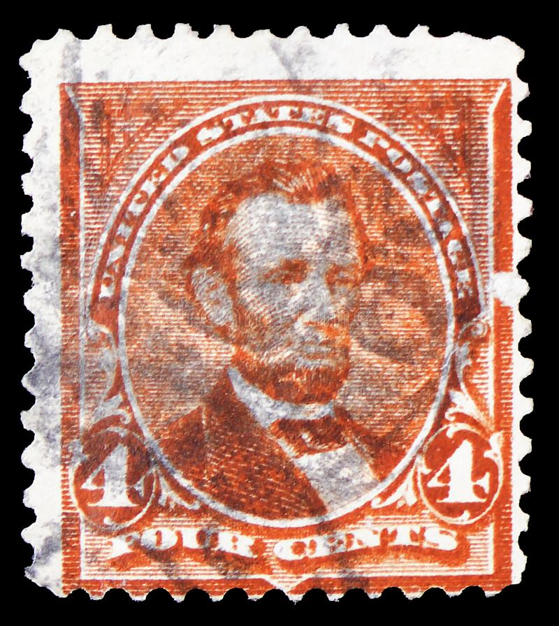 Abraham Lincoln 1809-1865, 16ος Πρόεδρος του U S ? , κανονικό ζήτημα του 1897-1903 serie, circa 1898 στοκ εικόνα