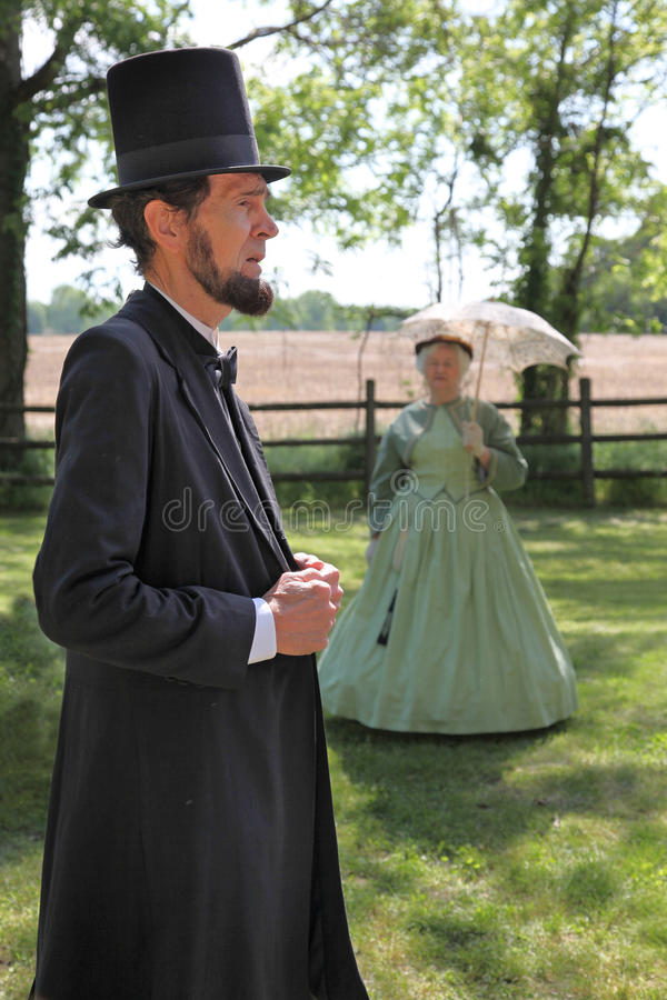 Abraham Lincoln Actor at The Sam Davis Museum. Actors portraying the 16th President of the United States, Abraham Lincoln and First Lady at the Sam Davis Home in royalty free stock photography