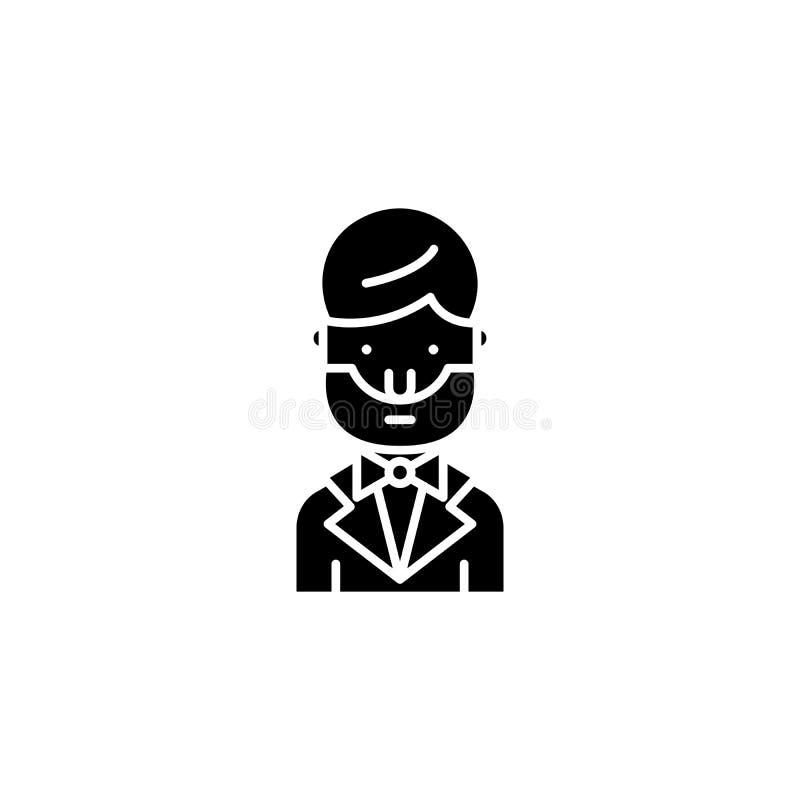 Abraham lincoln black icon concept. Abraham lincoln flat vector symbol, sign, illustration. stock illustration