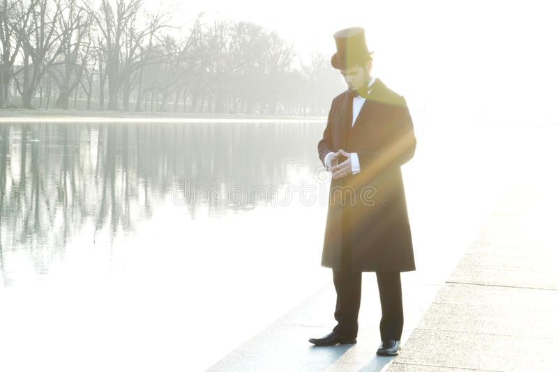 Abraham Lincoln Character Portrait At The National Mall royalty free stock images