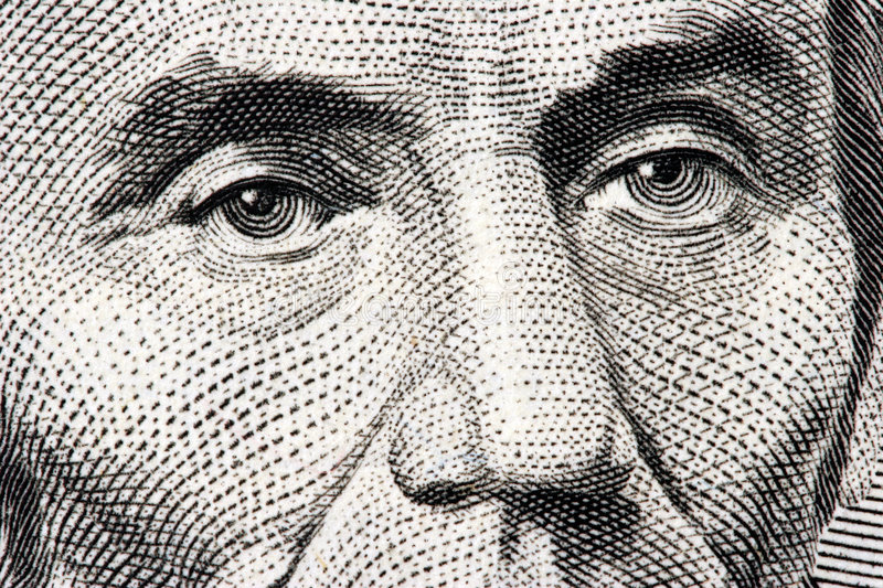Abraham Lincoln close up stock photo