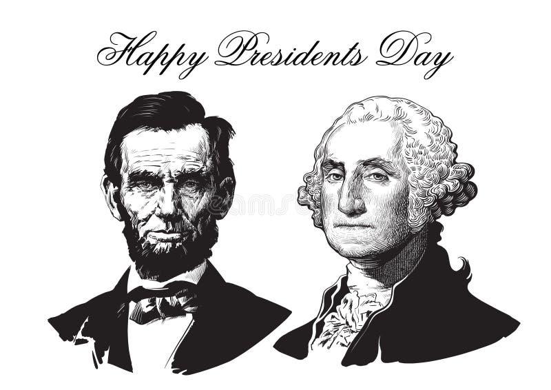 Abraham Lincoln e George Washington ilustração royalty free