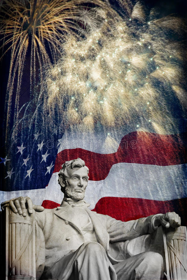 Abraham Lincoln Fireworks fotografie stock libere da diritti