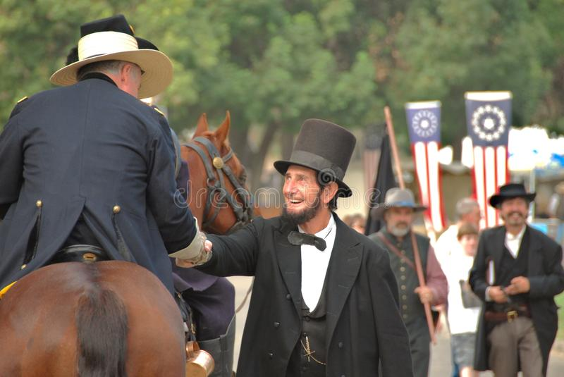 Abraham Lincoln greeting people. Actor William Truman Peck portraying President Abraham Lincoln at the 21st Annual Civil War Revisited at Kearney Park in Fresno royalty free stock image