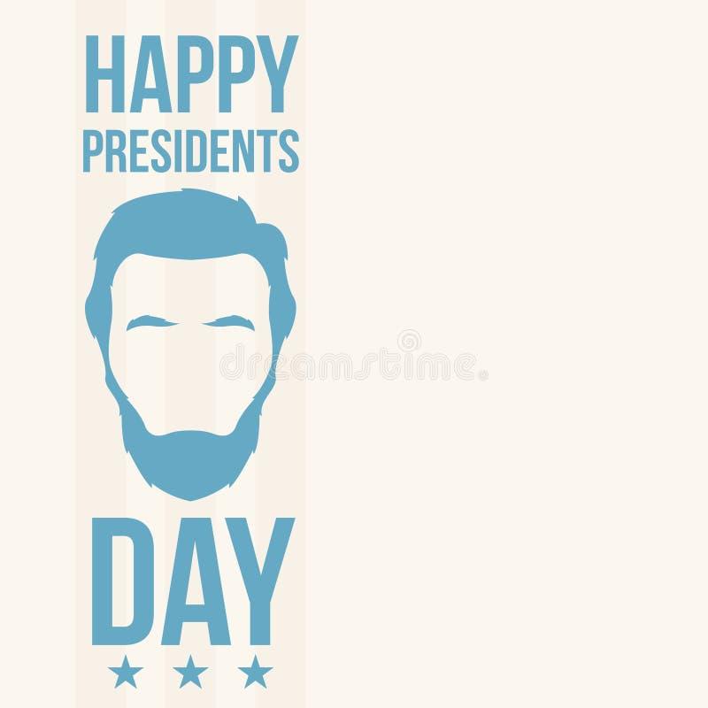 Abraham Lincoln, Happy Presidents Day. stock illustration