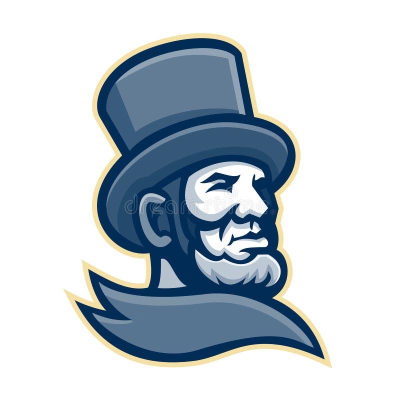 Abraham Lincoln Head Mascot ilustração do vetor