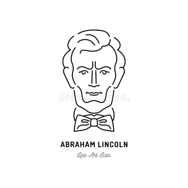 Abraham Lincoln Icon, de V.S. President Icon Het ontwerp van de lijnkunst, Vectorillustratie vector illustratie