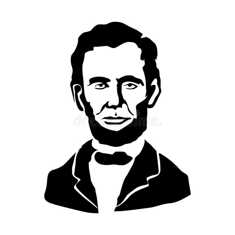 Abraham Lincoln Ilustração do vetor Desenho preto e branco ilustração royalty free