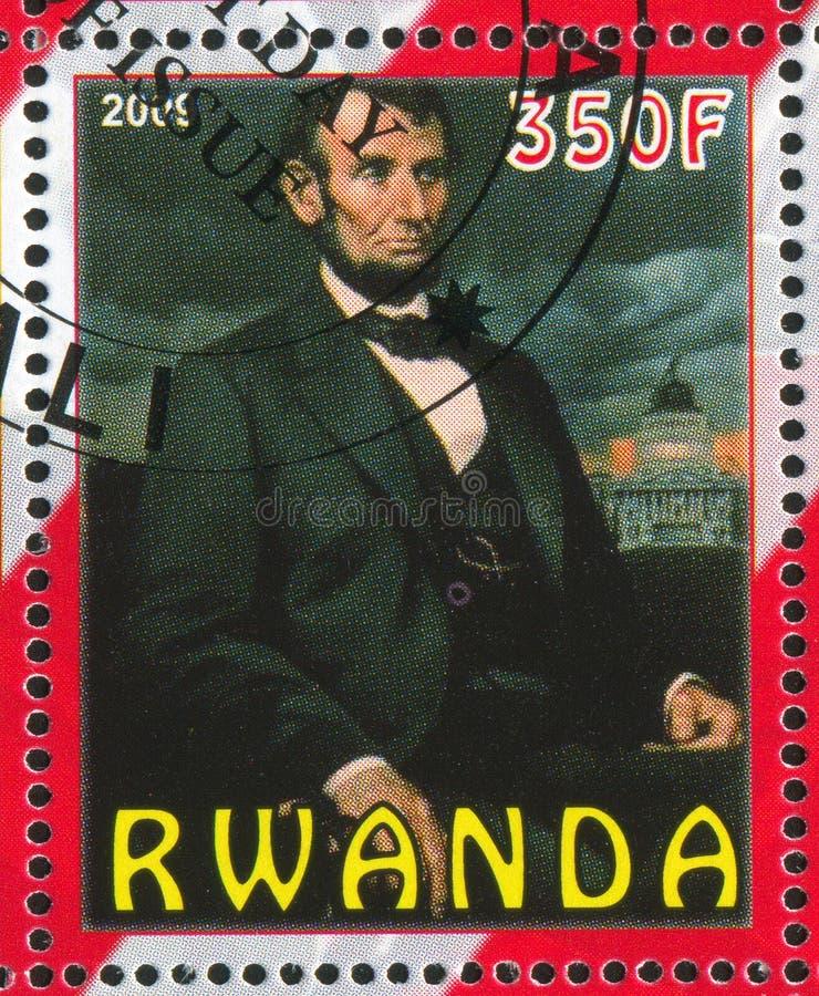 Abraham Lincoln imprimiu por Ruanda foto de stock royalty free