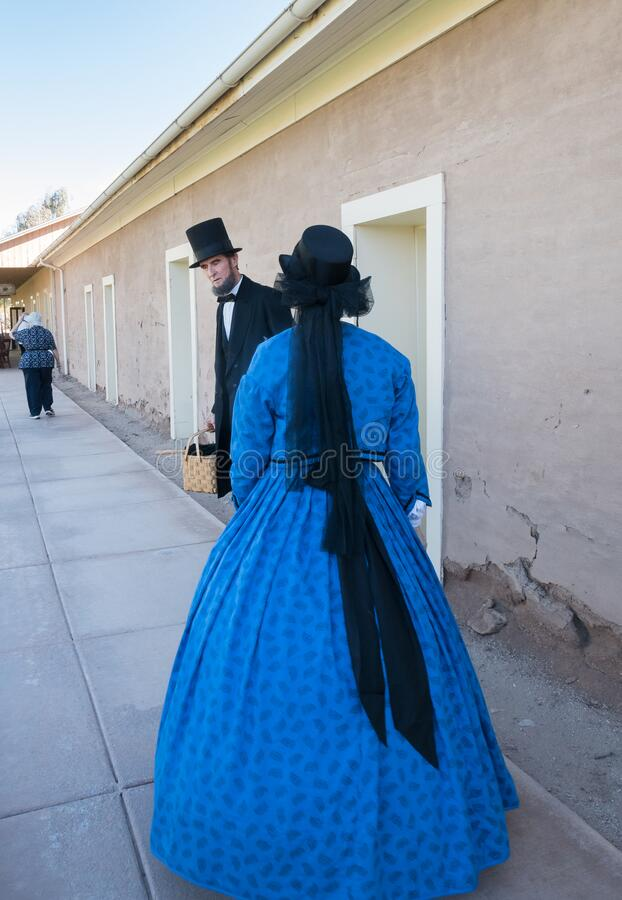 Abraham Lincoln and Mary Todd Lincoln. Civil War battle reenactment, Abraham Lincoln and Mary Todd Lincoln are present stock image