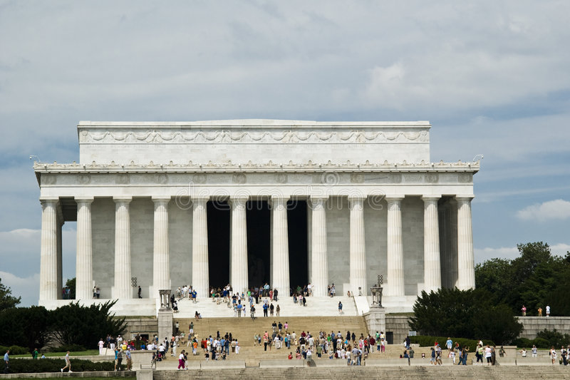 Abraham Lincoln memorial. Building with people and cloudy sky - Washington DC 2007 royalty free stock image