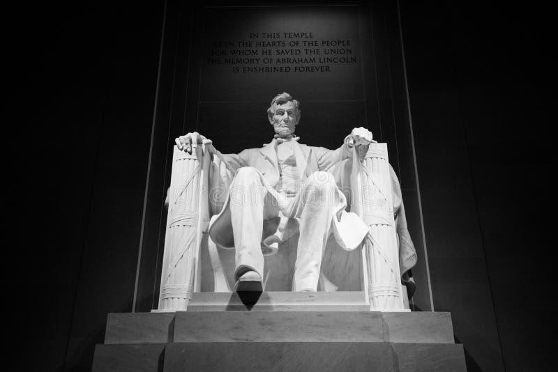 Abraham Lincoln Memorial Bold Black och vit arkivbilder