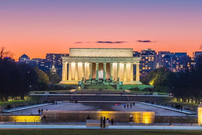 Abraham Lincoln Memorial in Washington, D.C. United States. At twilight royalty free stock photo